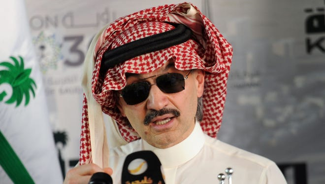 (FILES) This file photo taken on May 11, 2017 shows Saudi Prince Alwaleed bin Talal speaking during a press conference in the Red Sea city of Jeddah.