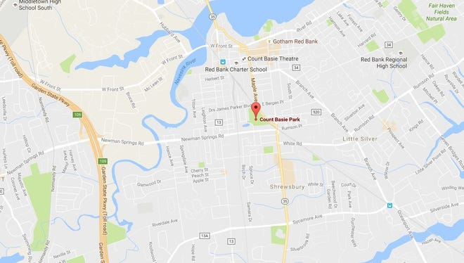 Map showing Count Basie Park in Red Bank.