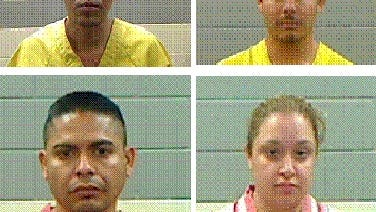 Police have arrested four people on drug charges after a Wednesday manhunt. They are: Victor Manuel Santacruz-Villanueva (clockwise, from top left), Daniel Ramirez-Correa, Eugenio Santacruz-Villanueva, and Evelyn Canalez