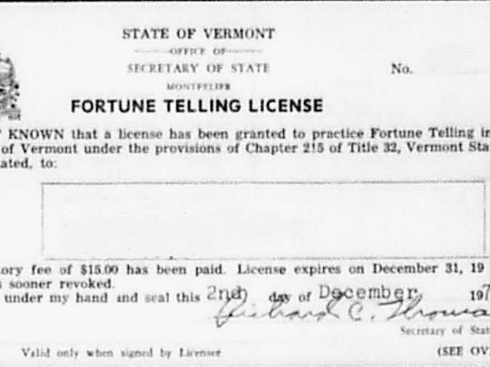 Sample fortune teller's license.