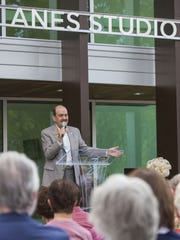 R. Scott Phillips, former executive director of the Utah Shakespeare Festival, speaks at the dedication ceremony for the Eileen and Allen Anes Studio Theatre at the Beverley Taylor Sorenson Center for the Arts in Cedar City on August 18, 2016.