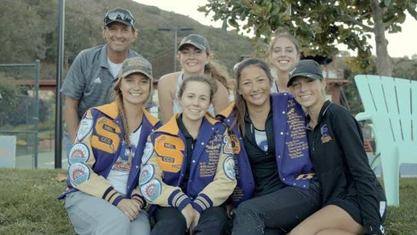 Salinas High School Head Girls Tennis Coach Gus Andersen with players (top left to right) Julia Bell, Nica Scaroni and (bottom row left to right) Paige Hill, Camryn More, Kimi Chin, and Makayla Chassion.