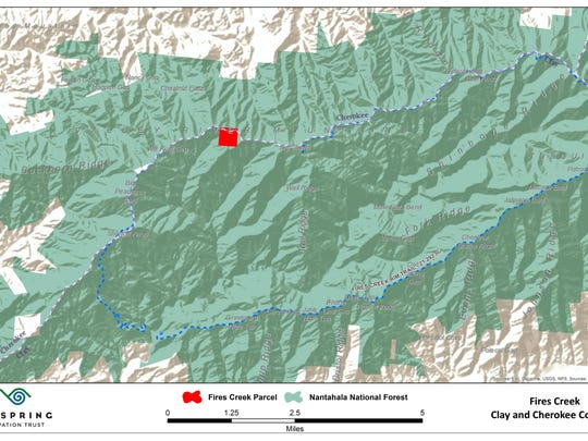The red dot on the map shows the previously privately owned Fires Creek tract within the Nantahala National Forest.