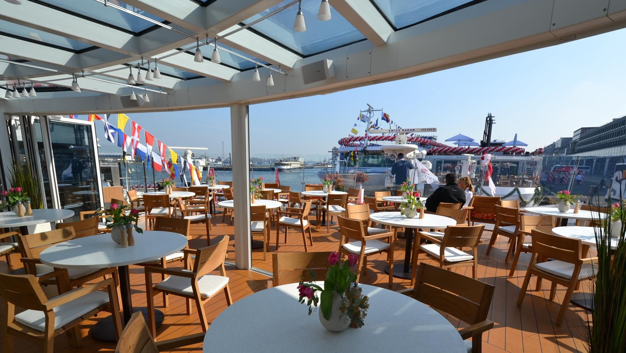 Another innovative new-for-the-industry feature on the Viking Odin and its sister ships is an all-weather indoor/outdoor terrace at their bows. The terraces have retractable floor-to-ceiling glass doors that can be closed during inclement weather.