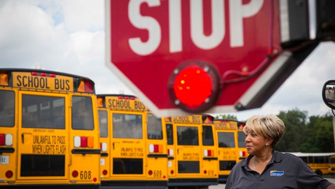 Des Moines Public Schools bus driver Marilyn Hawkins at the Des Moines Schools bus garage Aug. 9, 2016,  Des Moines, Iowa. Despite the passage of Kaydn's law in 2012, which created punishment for drivers illegally passing stopped school buses, drivers report little change on the roads.