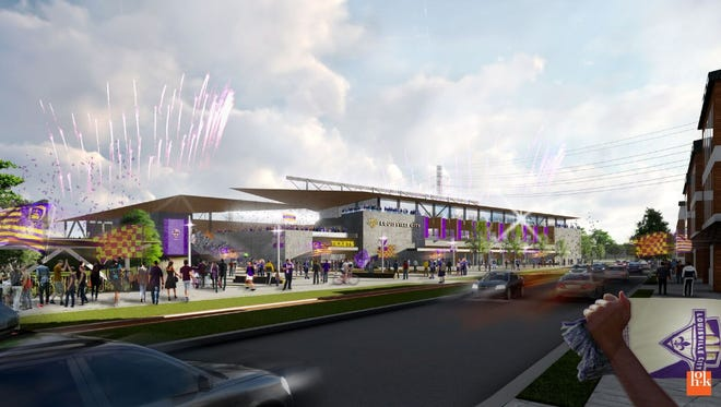 Louisville City FC's future stadium site will feature offices, retail space and hotel space. The site in Butchdertown includes and surrounds the former Challenger Lifts Inc. site at 200 Cabel St. Architecture firm HOK designed the 10,00-seat stadium.