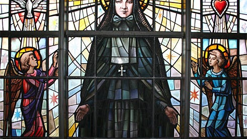 Mother Cabrini as depicted in stained glass at her shrine in New York City.