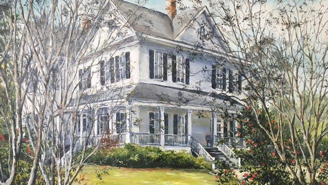 One of many beautiful original art pieces featured in the Evening with the Arts Auction, Quincy Garden Center (the historic Pat Munroe House), acrylic, by Debra Brienen.