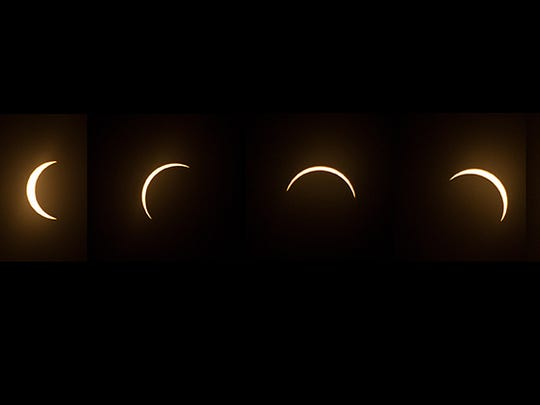 A composite image of the eclipse of the sun as it appeared in Clarksville, Ind. Aug. 21, 2017