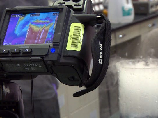 A thermal camera shows that water turned to steam using