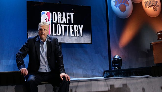 Larry Bird, Indiana Pacers president of basketball operations, waits for the start of the  NBA basketball draft lottery, Tuesday, May 19, 2015, in New York.