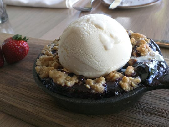 Skillet blackberry cobbler a la mode at Kitchen Notes