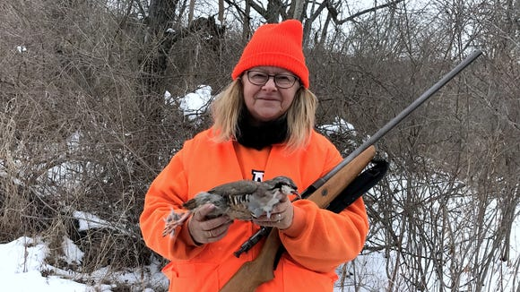 Carol broke a two-year bird hunting slump with a chukar partridge she bagged Saturday.
