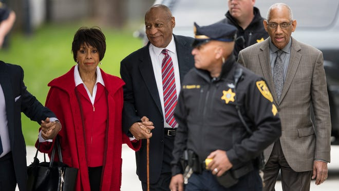 Bill Cosby arrives fr Day 3 of his sexual assault trial with actress Sheila Frazier and Frazier's husband John Atchison, a celebrity hairstylist, at the Montgomery County Courthouse in Norristown, Pa., June 7, 2017.