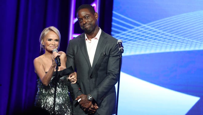 Kristin Chenoweth, left, and Sterling K. Brown surprised the Television Critics Association Awards audience with a surprise duet Saturday.