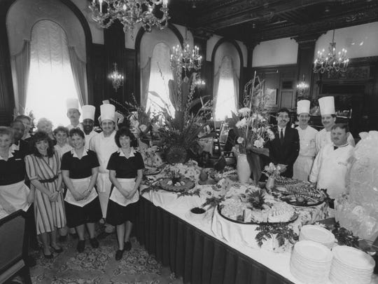 The staff at the Green Room of the Hotel du Pont preparing for Sunday brunch in 1989.