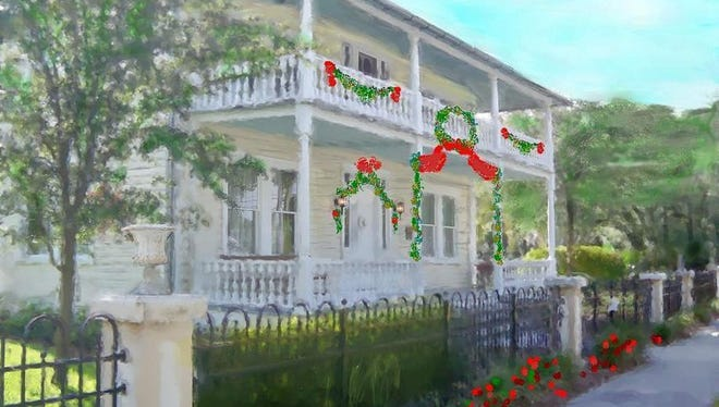 An artist's rendering of the Historic Rossetter House and Museum decorated for the holidays.