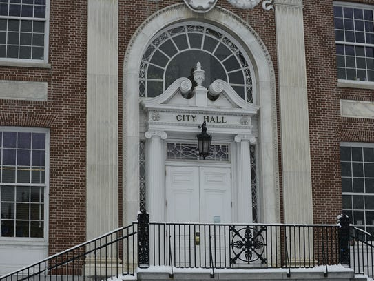 Burlington City Hall doors facing the Church Street Marketplace, seen on Tuesday, Dec. 12, 2017. City Hall is one of the few options for public restrooms downtown