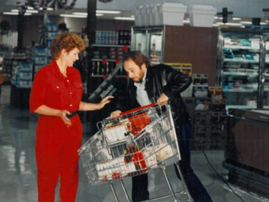 Merle Haggard helps make a television commercial for Holiday Market in Palo Cedro in the 1980s. He was a regular at the grocery store, which made sure to stock his favorites.