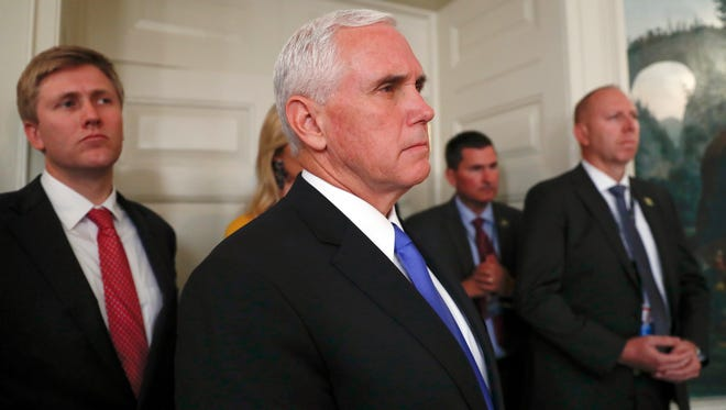 Vice President Mike Pence watches as President Donald Trump makes a statement at the White House in Washington, Monday, Oct. 2, 2017, about the mass shooting in Las Vegas. (AP Photo/Carolyn Kaster)