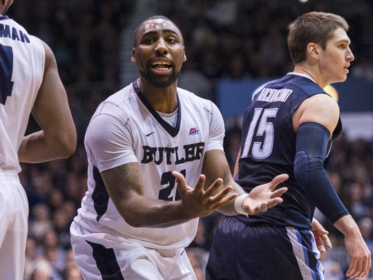 Butler forward Roosevelt Jones (21) reacts after being called for a foul during the second half of an NCAA college basketball game, Sunday, Jan. 10, 2016, at Hinkle Fieldhouse. Villanova won 60-55.