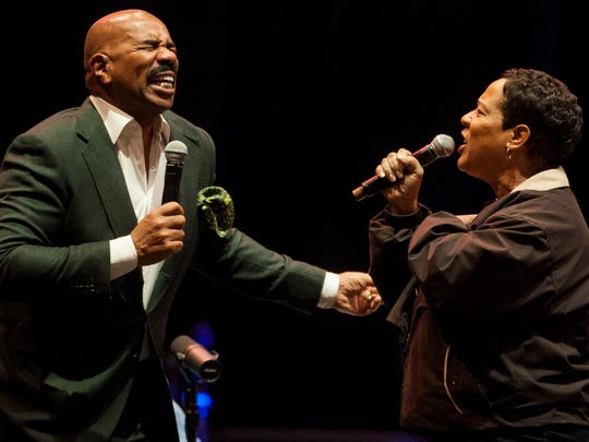 Steve Harvey holds a talent show as he does a live
