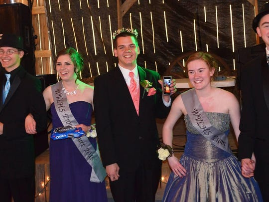 Wisconsin Valley Lutheran High School held their annual prom on May 9 at the Peterson Barn in Rib Mountain. Pictured are the members of the Wisconsin Valley Lutheran High School 2015 Prom Court: Senior Prince Brandon Buelow, Stevens Point; Senior Princess Hannah Anklam, Wausau; Junior King John Scheppa, Marshfield; Junior Princess Bailey Piepenburg, Weston; Junior Prince,Kurt Peterson, Kronenwetter. Missing from the photo is Junior Queen Alex Dickinson,Wausau.
