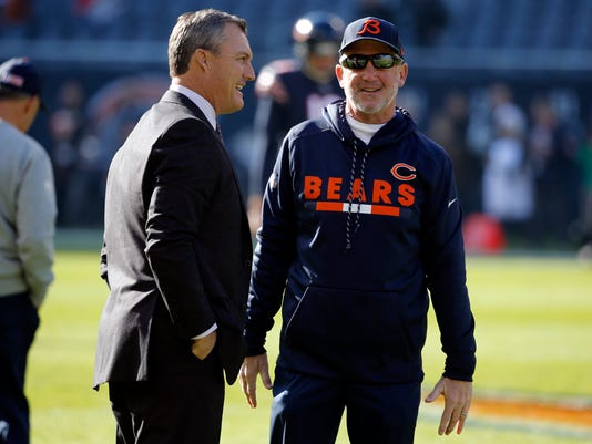 San Francisco 49ers general manager John Lynch, left, talks to Chicago Bears head coach John Fox before an NFL football game, Sunday, Dec. 3, 2017, in Chicago. (AP Photo/Charles Rex Arbogast)