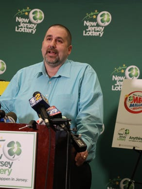 April 13, 2018: The winner of the 533 million Mega Millions lottery, Richard Wahl from Vernon, speaks with collective pressure at the lottery's headquarters.  The 47-year-old previously lived in Michigan.
