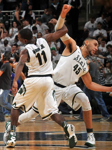 Michigan State's Denzel Valentine and Lourawls Nairn