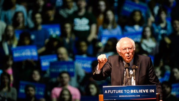 Democratic candidate Bernie Sanders at the Breslin Center in East Lansing, Wednesday, March 2, 2016.