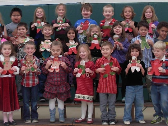 "Kindergarteners at Lincoln Elementary School sang ""Gingerbread Cookies"" at their recent winter concert."