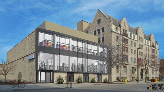 An architect's rendering of a remolded YMCA in downtown Green Bay. The windows in the section to the left would be new.