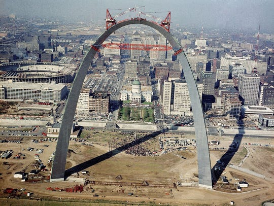 The placing of last link in the Gateway Arch, 1965,