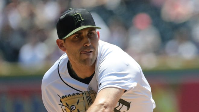 Matthew Boyd pitches against the Angels during the second inning Monday at Comerica Park.