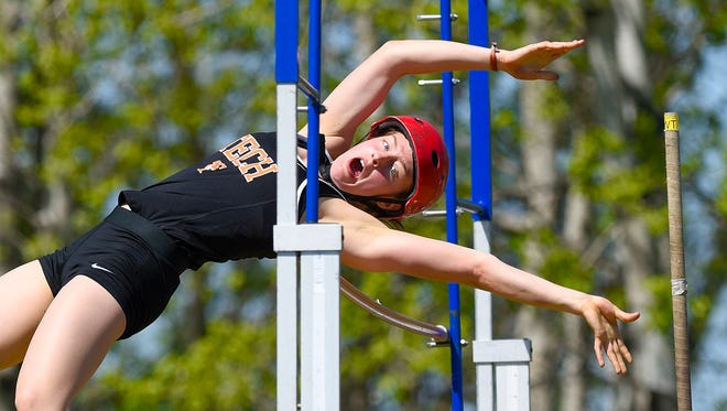 Tech's Kaethe Schroeder clears the bar at 10-feet during the pole vault event of the Sauk Rapids Mega Meet Saturday, May 6, in Sauk Rapids.
