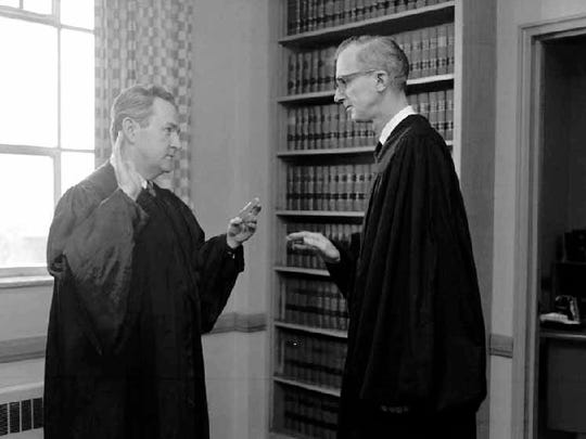 Justice Nathan Heffernan, friend and colleague, administered the oath of office at the beginning of Judge John Buchen's first full term as county judge on Jan. 11, 1965, years after the men conquered Sheboygan County's prostitution problem.