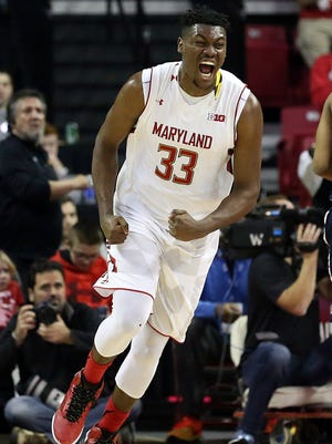 Maryland Terrapins forward Diamond Stone (33) reacts after his basket against the Penn State Nittany Lions at Xfinity Center.
