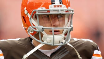 Cleveland Browns quarterback Johnny Manziel (2) before a game against the Tampa Bay Buccaneers at FirstEnergy Stadium.