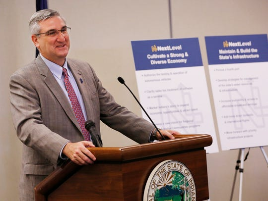 Gov. Eric Holcomb reviews the main points of his 2018
