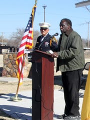 James Williams, president of the MLK Scholarship Committee, addressed the crowd at the Martin Luther King Jr. Park.