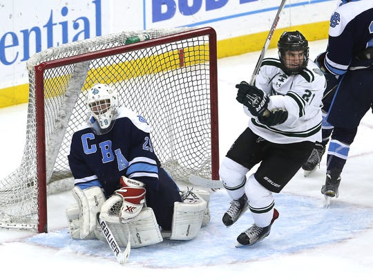 Delbarton's Tyler Kobryn (21) shoots and scores on CBA 