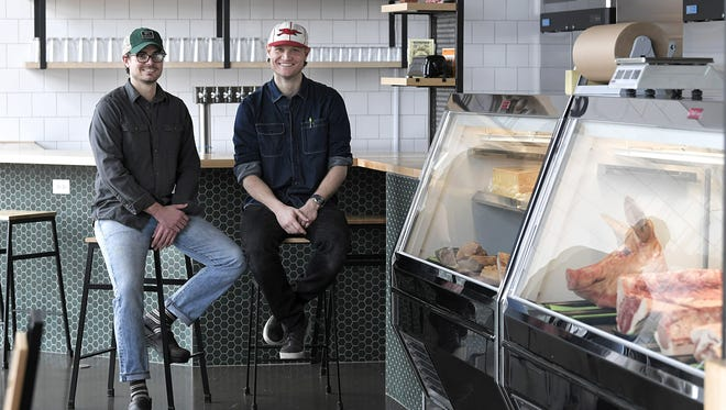 Bare Bones Butcher co-owners Wesley Adams and Patrick Davidson sit inside their new butcher shop which is coming soon to the Nations neighborhood in Nashville.  The roughly 1,700-square-foot whole animal butchery will specialize in beef, pork and chicken with other meats depending on the season or what's available.  In addition to the butcher shop, a small restaurant and market will also be part of the business.