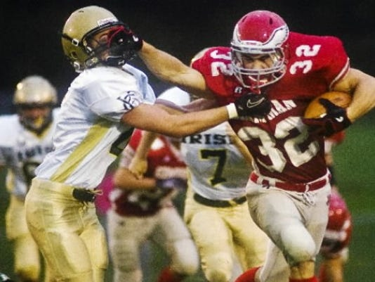 Bermudian Springs' Tyler Fitzkee (32) ran for five TDs against York Catholic on Friday.