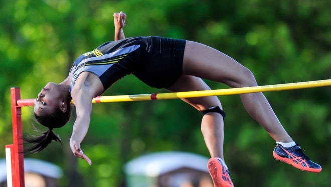 South Brunswick's Courteney Campbell competes in the high jump during the Greater Middlesex Conference championships on Tuesday, May 16, 2017 at Lombardi Field in Old Bridge.