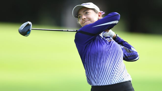 Jackson's Anastasia Nikolaidis watches her drive on hole 4 at Shady Hollow Country Club against Lake.\r