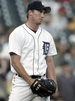 Detroit Tigers starting pitcher Mike Maroth reacts after giving up a three-run homer to Texas Rangers' Alex Rodriguez in the third inning Tuesday, Aug. 19, 2003, in Detroit. (AP Photo/Duane Burleson)