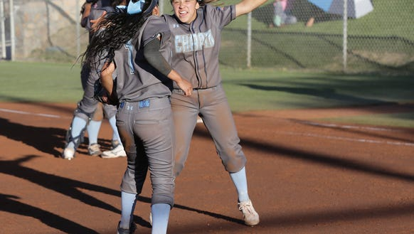 Chapin celebrates their 9-8 win over Eastlake Friday