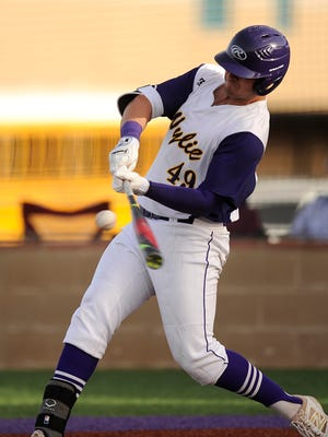 Wylie's Bryce Gist (49) hits a ball during the bottom of the fifth inning of the Bulldogs' 12-2 win on Tuesday, April 4, 2017, at Wylie High School.