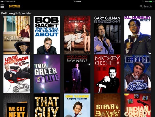 The menu of the Comedy Dynamics streaming video site.